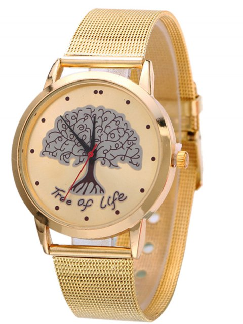 sale Mesh Band Tree of Life Analog Watch - GOLDEN  Mobile