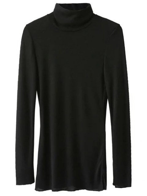 hot Funnel Neck Fitted Side Slit T-Shirt - BLACK L Mobile