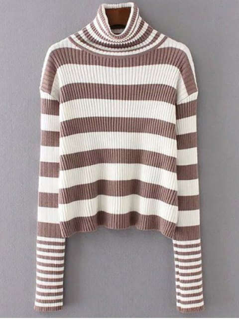 hot Funnel Neck Ribbed Striped Sweater - KHAKI ONE SIZE Mobile