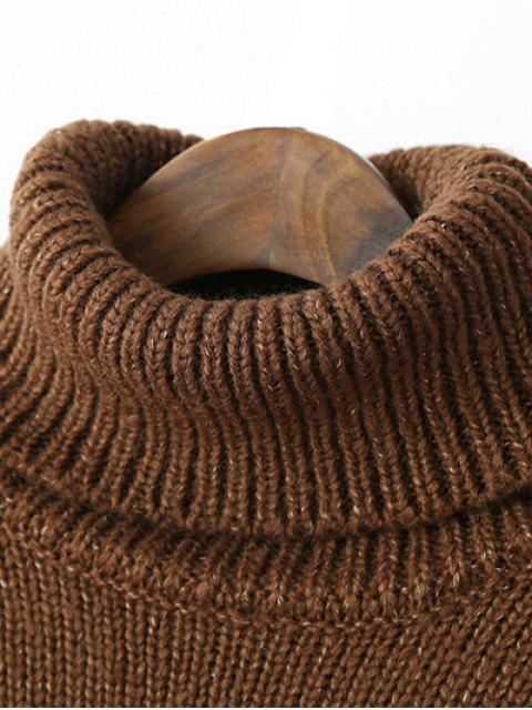chic Roll Neck Oversized Jumper - COFFEE ONE SIZE Mobile