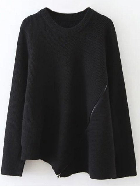 women Asymmetric Zipped Hem Swing Sweater - BLACK ONE SIZE Mobile