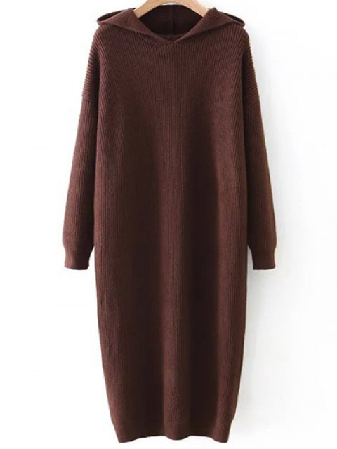 womens Hooded Midi Jumper Dress - COFFEE BROWN ONE SIZE Mobile