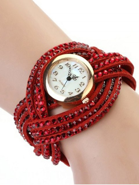 women's Rhinestone Number Twist Bracelet Watch - RED  Mobile
