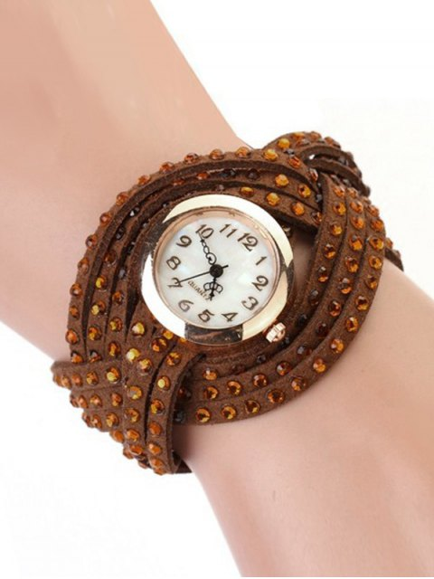 ladies Rhinestone Number Twist Bracelet Watch - BROWN  Mobile