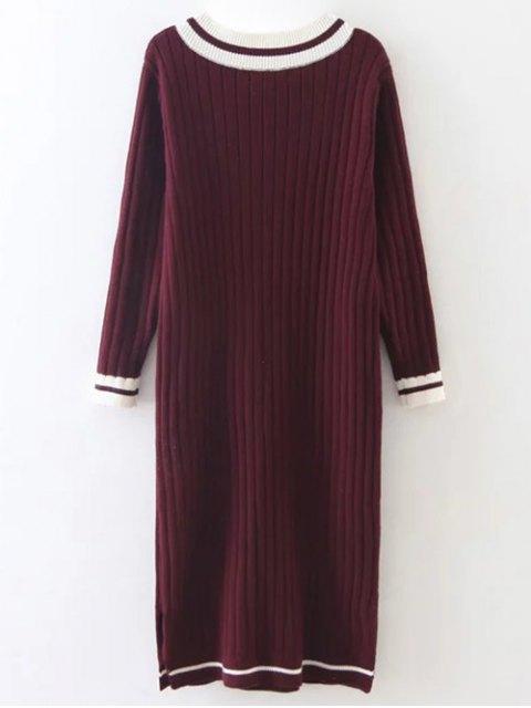 best Straight Midi Jumper Dress - BURGUNDY ONE SIZE Mobile