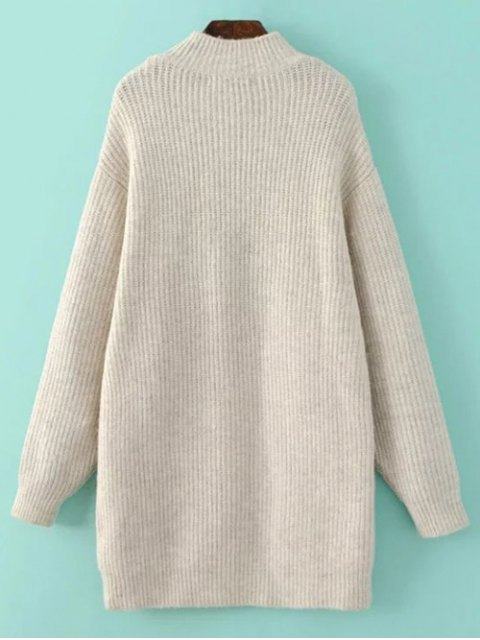 fancy Funnel Neck Oversized Sweater Dress - OFF-WHITE S Mobile