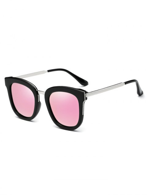 fancy Butterfly Frame Mirrored Oversized Sunglasses - PINK  Mobile