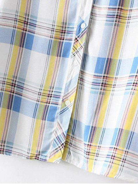 trendy Boyfriend Button Up Pocket Plaid Shirt - LIGHT BLUE M Mobile