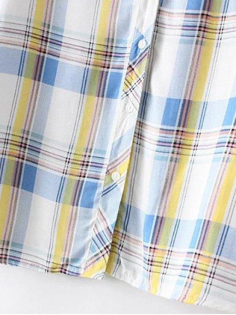 chic Boyfriend Button Up Pocket Plaid Shirt - ORANGE 2XL Mobile