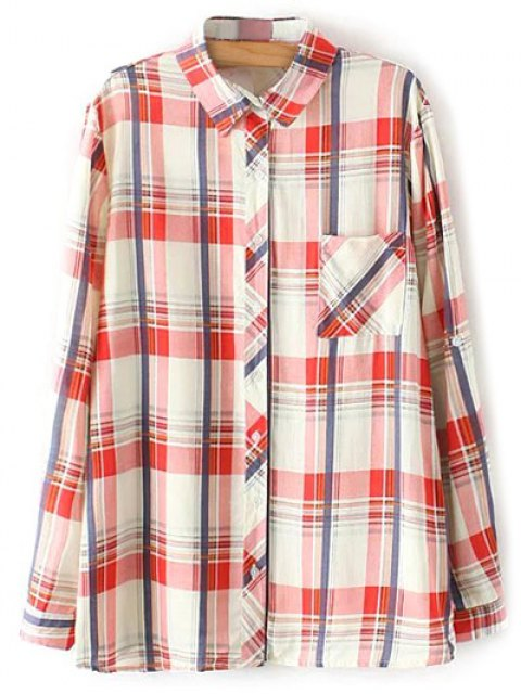 buy Boyfriend Button Up Pocket Plaid Shirt - RED 2XL Mobile