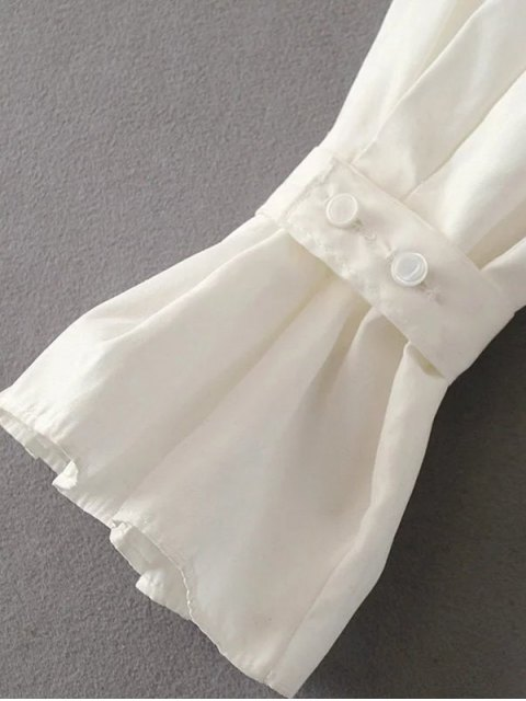 women's Frilled Sleeve Button Up Chiffon Blouse - WHITE S Mobile