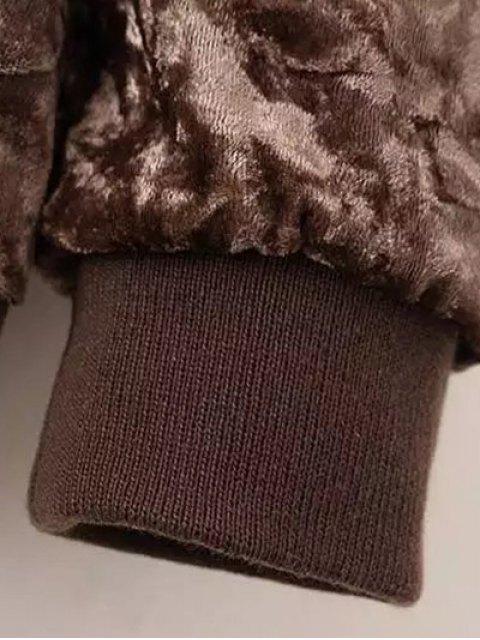online Velvet Pilot Jacket - COFFEE L Mobile
