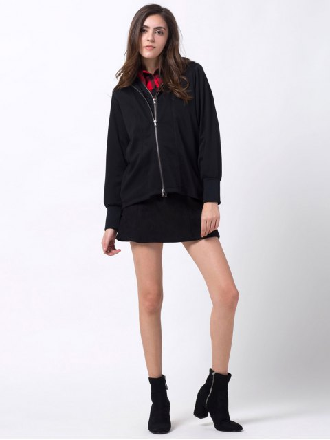 chic Batwing Sleeve Zip Up Hoodie - BLACK 2XL Mobile