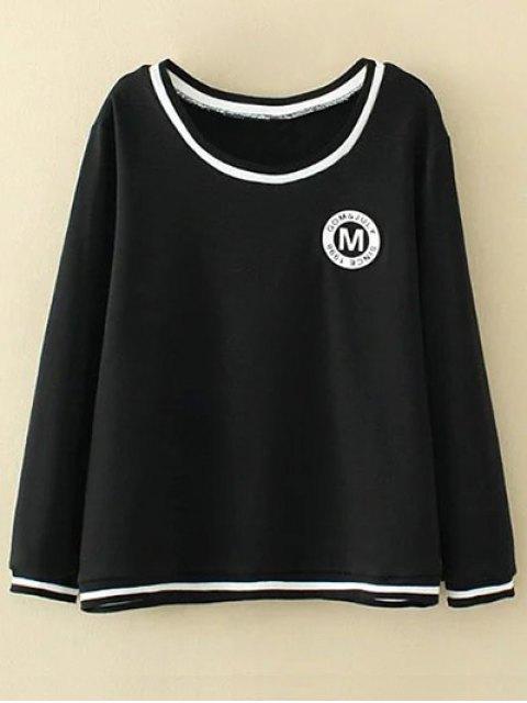lady Plus Size Applique Top and Pants - BLACK 3XL Mobile