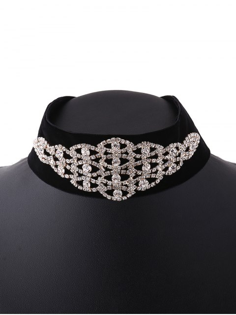 hot Rhinestone Eye Velvet Choker - GOLDEN  Mobile