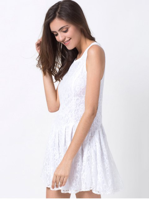 fashion Sleeveless Lace Mini Dress - WHITE M Mobile