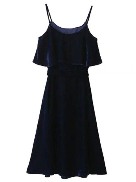 women Slip Belted Ruffle Velvet Swing Dress - PURPLISH BLUE L Mobile