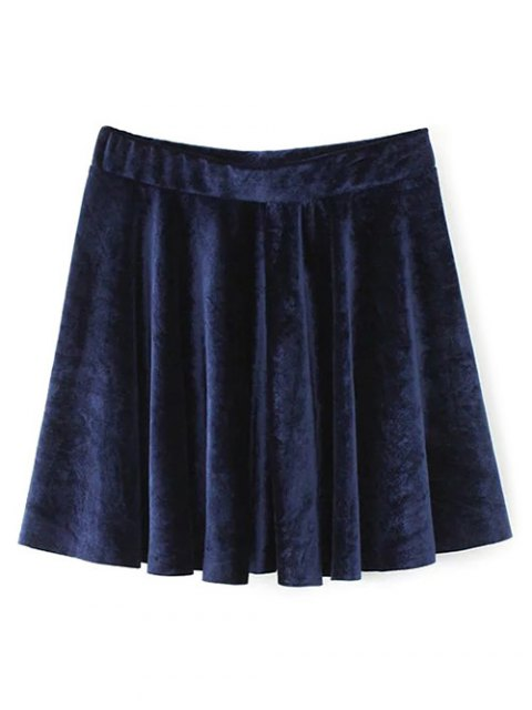 chic Velvet A Line Mini Skirt - PURPLISH BLUE S Mobile