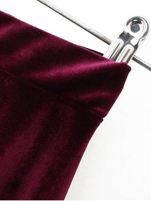 fashion Velvet A Line Mini Skirt - PURPLISH BLUE M Mobile