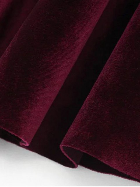 affordable Velvet A Line Mini Skirt - BURGUNDY L Mobile