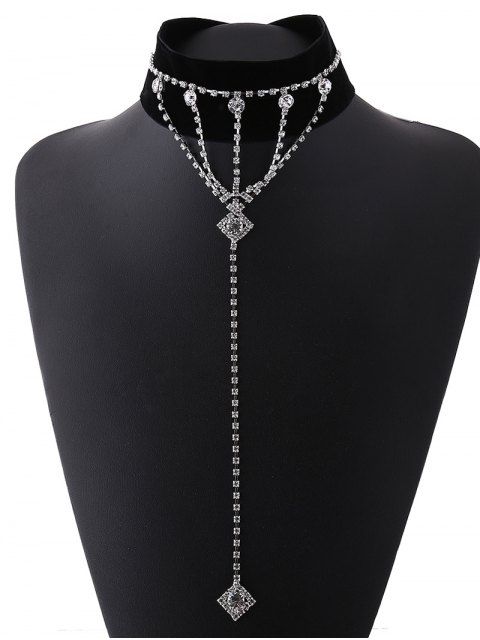 outfit Square Drop Velvet Choker -   Mobile