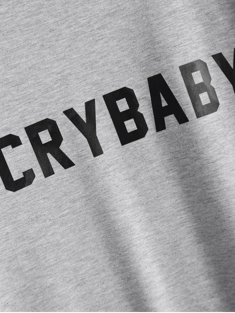 chic Short Sleeve Crybaby Graphic Tee - GRAY L Mobile