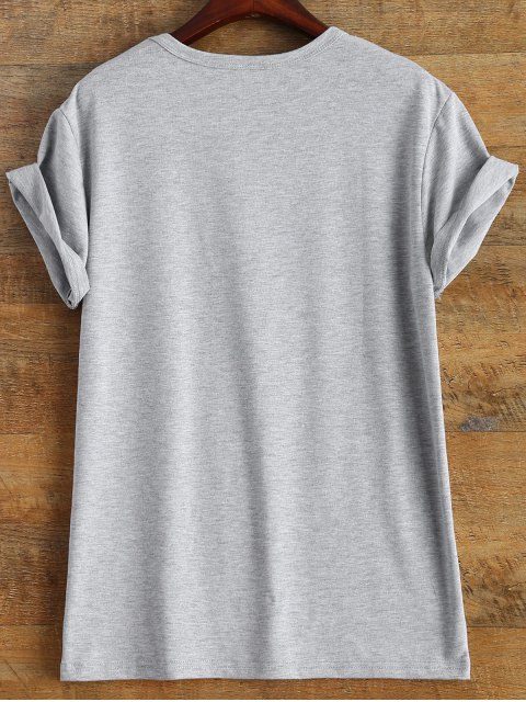 ladies Short Sleeve Lettering Tee - GRAY 3XL Mobile