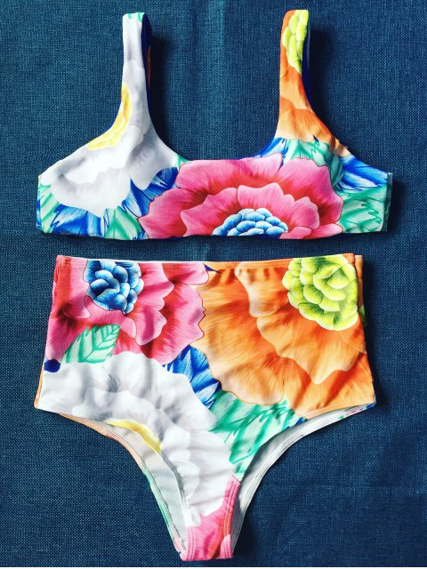 new High Rise U Neck Floral Bikini - FLORAL L Mobile
