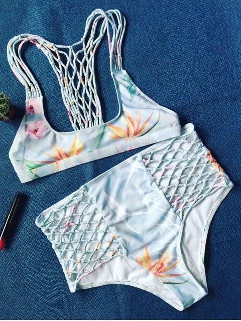 women Printed Fishnet Insert High Rise Bikini - COLORMIX M Mobile