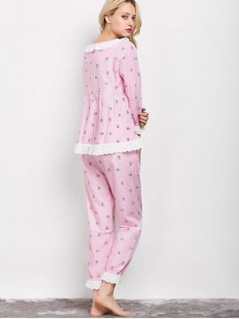 sale Printed Smock Top and Pants Pajama - PINK L Mobile