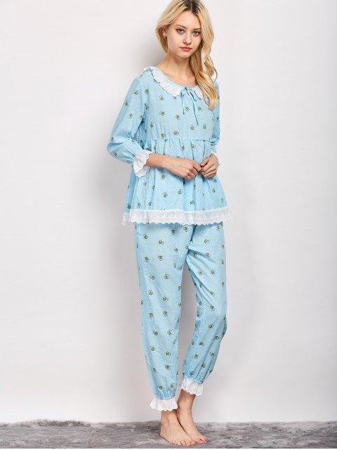 buy Printed Smock Top and Pants Pajama - LIGHT BLUE L Mobile