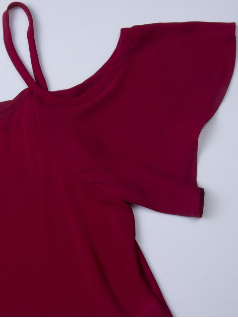 latest Chiffon Spaghetti Straps Blouse - BURGUNDY L Mobile