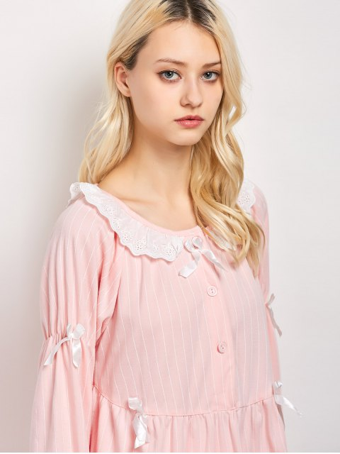 women Striped Smock Top and Pants Pajama - PINK L Mobile