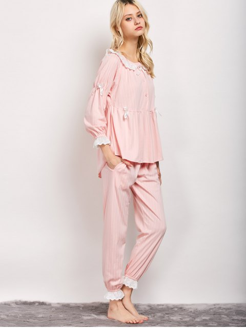 womens Striped Smock Top and Pants Pajama - PINK XL Mobile