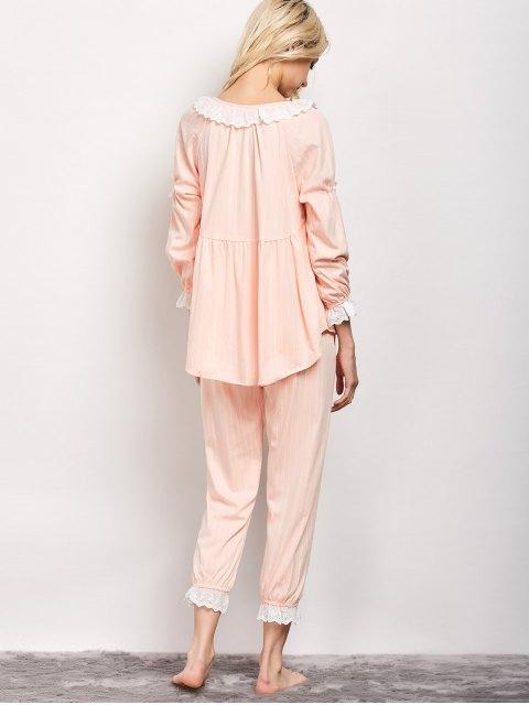 ladies Striped Smock Top and Pants Pajama - APRICOT L Mobile