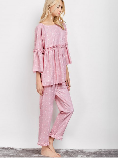 outfit Letter Ruffles Smock Top and Pants Pajama - PINK L Mobile