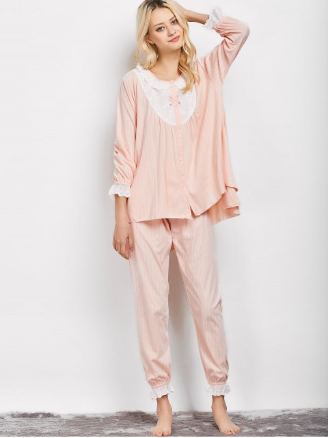 trendy Striped Swing Top and Pants Pajama - APRICOT XL Mobile