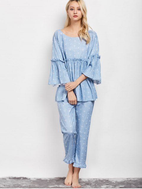 shop Letter Ruffles Smock Top and Pants Pajama - LIGHT BLUE L Mobile