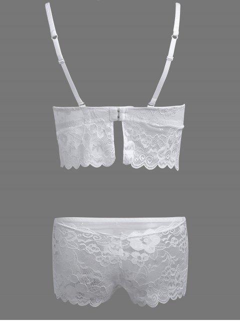 womens Floral Applique Lace Bra Set - WHITE 75C Mobile