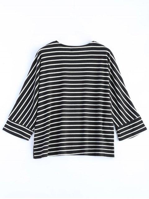 ladies Oversized Side Slit Striped T-Shirt - BLACK M Mobile