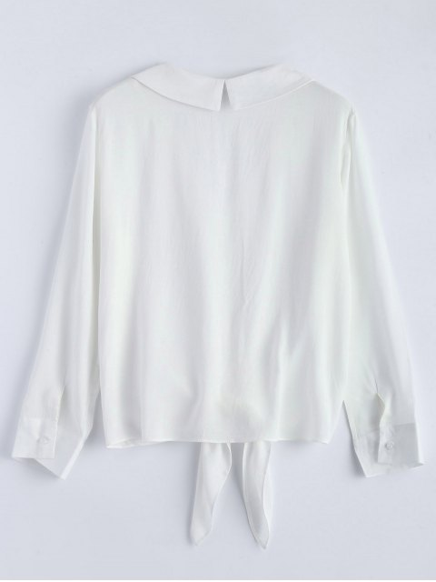 outfits Loose Tied Blouse - WHITE L Mobile