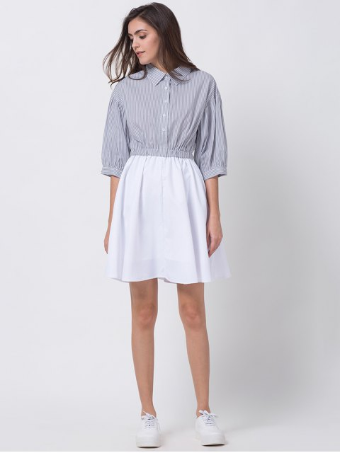 lady A Line Stripes Puff Sleeve Shirt Dress - GREY AND WHITE XL Mobile