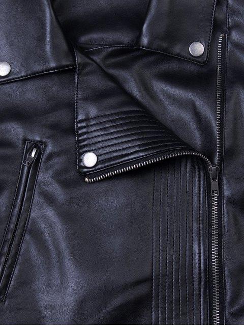 unique Lapel Zipper Biker Jacket - BLACK L Mobile