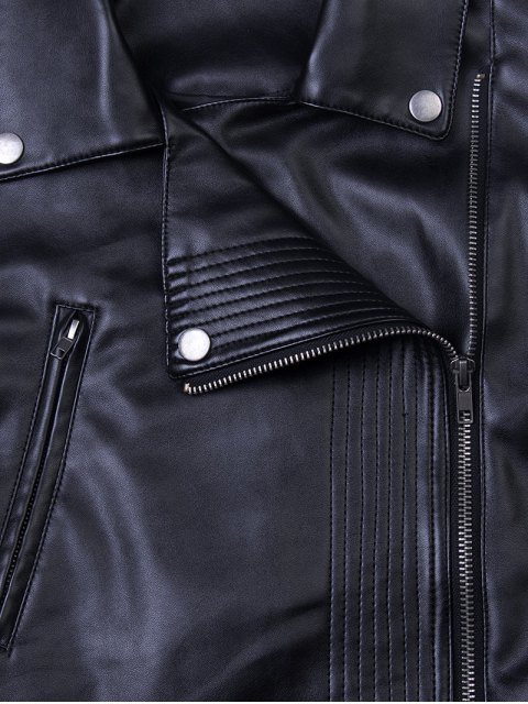 affordable Lapel Zipper Biker Jacket - BLACK XS Mobile