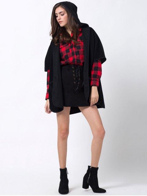 buy Slit Hooded Coat with Pocket - BLACK L Mobile