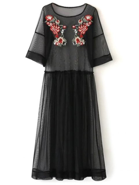 hot See Thru Tulle Embroidered Maxi Dress - BLACK L Mobile