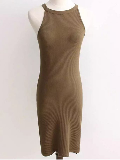 online Ribbed Sleeveless Knitted Bodycon Dress - ARMY GREEN ONE SIZE Mobile