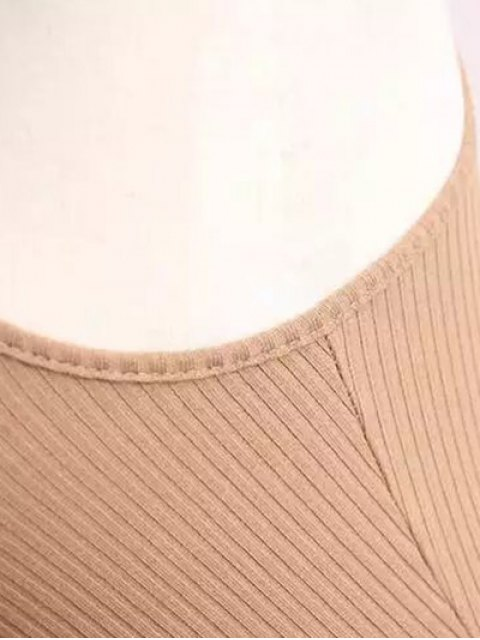 new Ribbed Sleeveless Knitted Bodycon Dress - CAMEL ONE SIZE Mobile