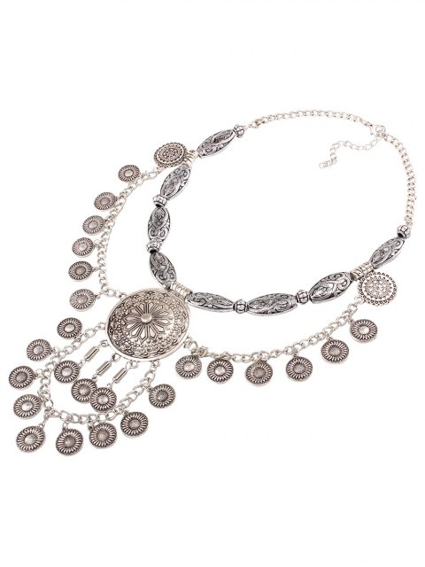 fashion Layered Medallion Necklace - SILVER  Mobile