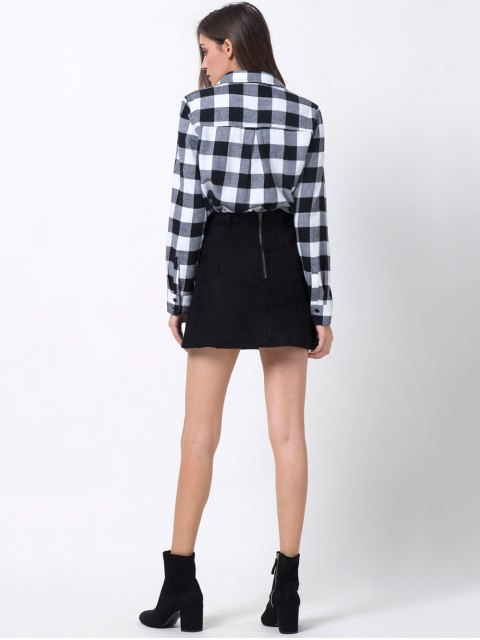 ladies Tartan Shirt with Pocket - WHITE AND BLACK L Mobile